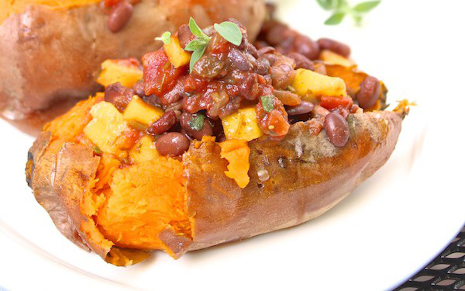 Grilled Sweet Potato Boats With Black Bean Mango Salsa