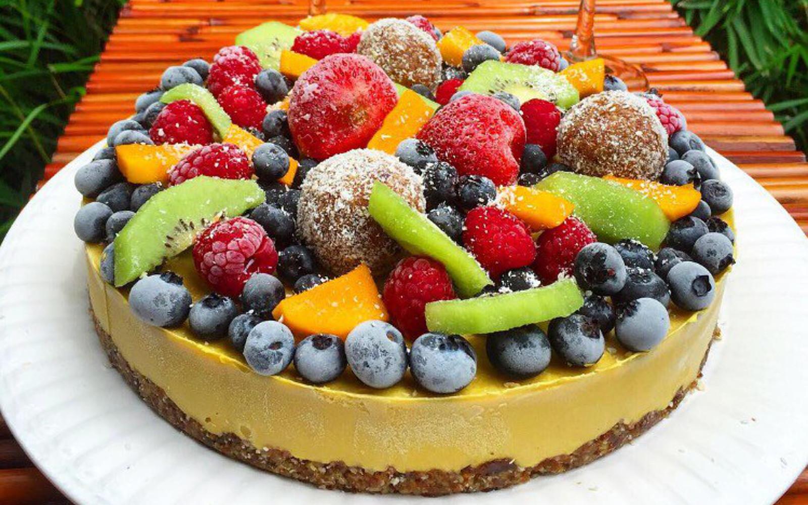 Raw Mango Lime Cheesecake With Fruit Topping [Raw, Vegan, Gluten-Free]