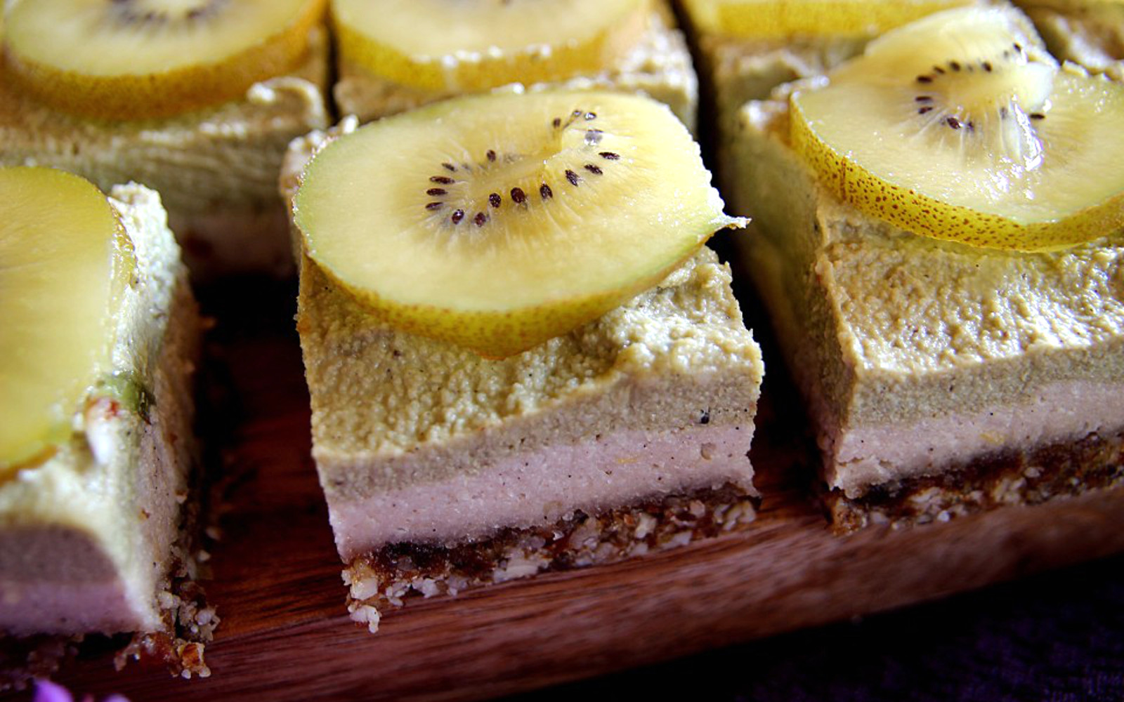 Matcha and Lime Cheesecake Slices