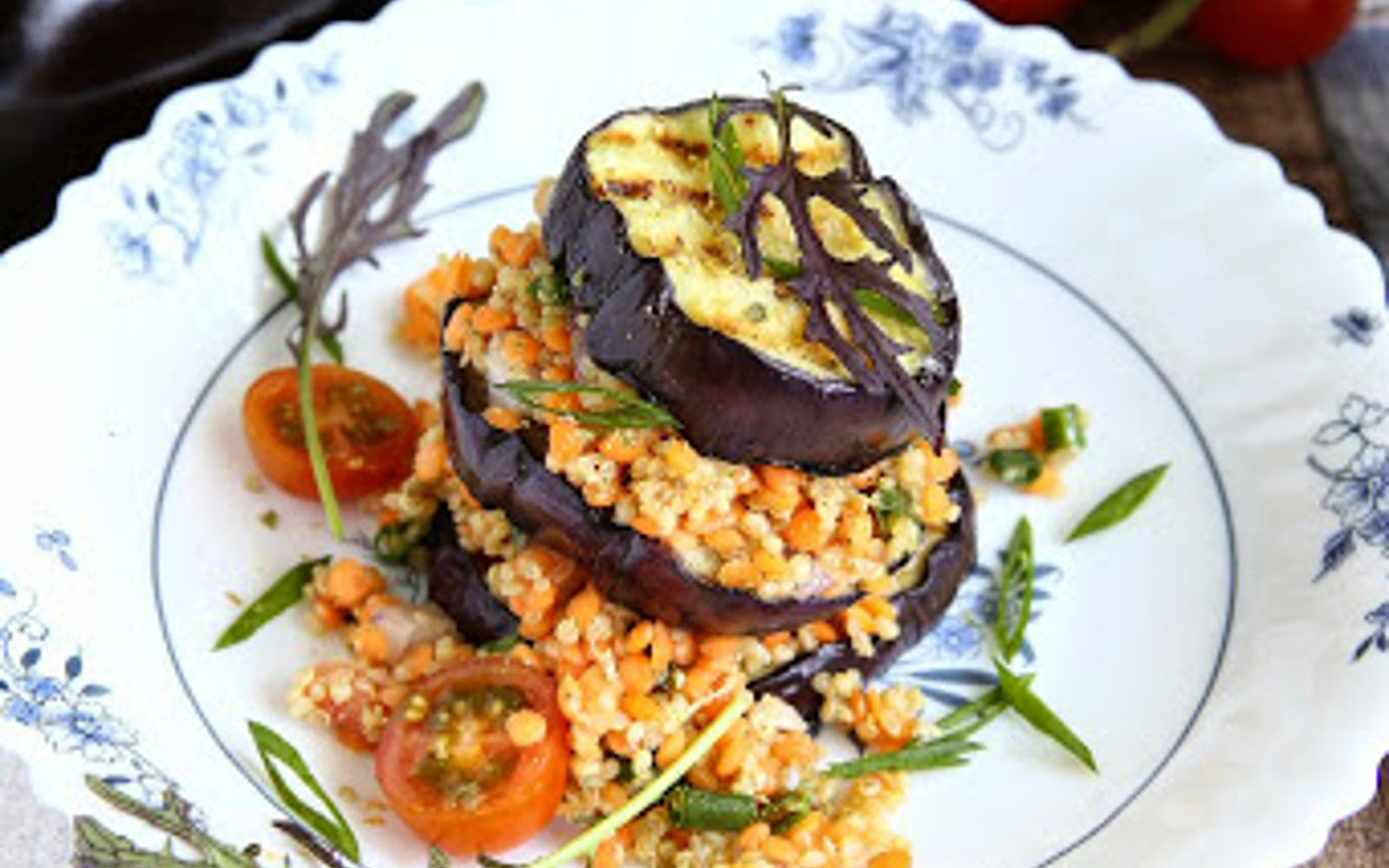 Roasted Eggplant Stacks With Red Lentils