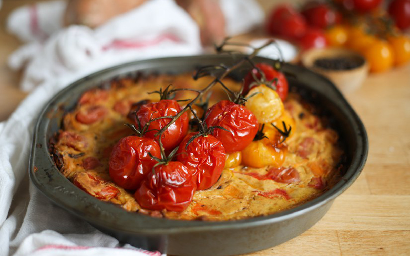 Roasted Red Pepper and Tomato Quiche 2