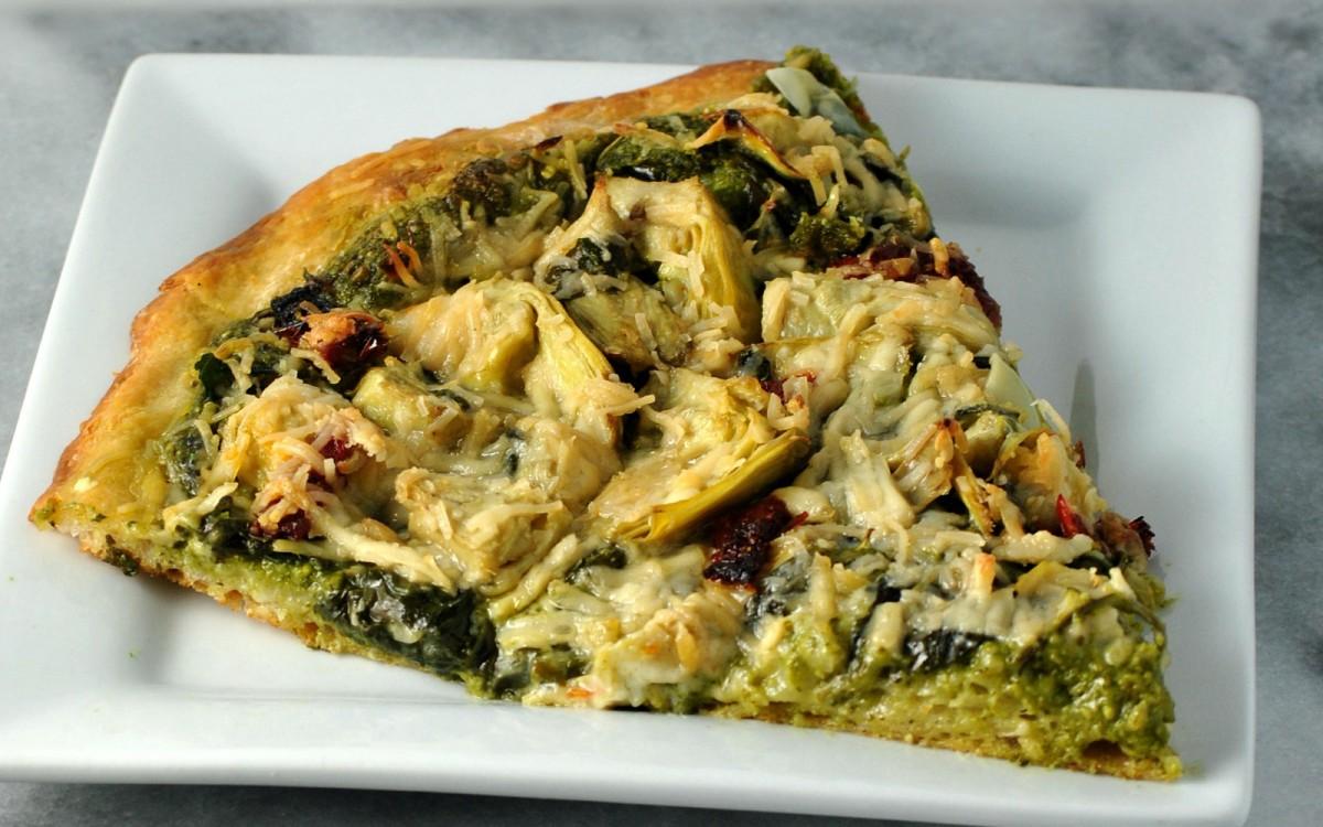 Artichoke and Spinach Pesto Pizza