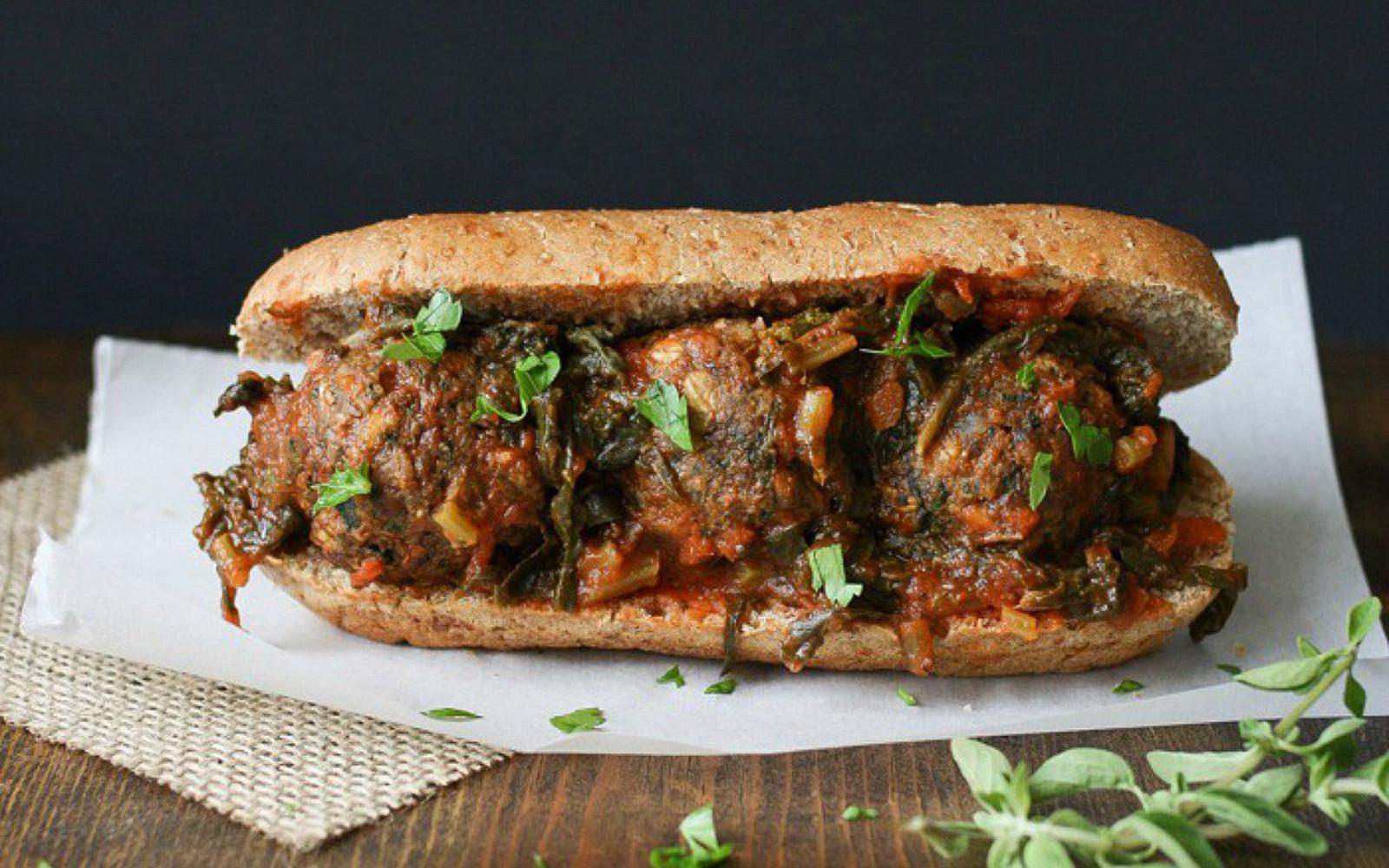 Beanball Sub Sandwich With Marinara and Greens