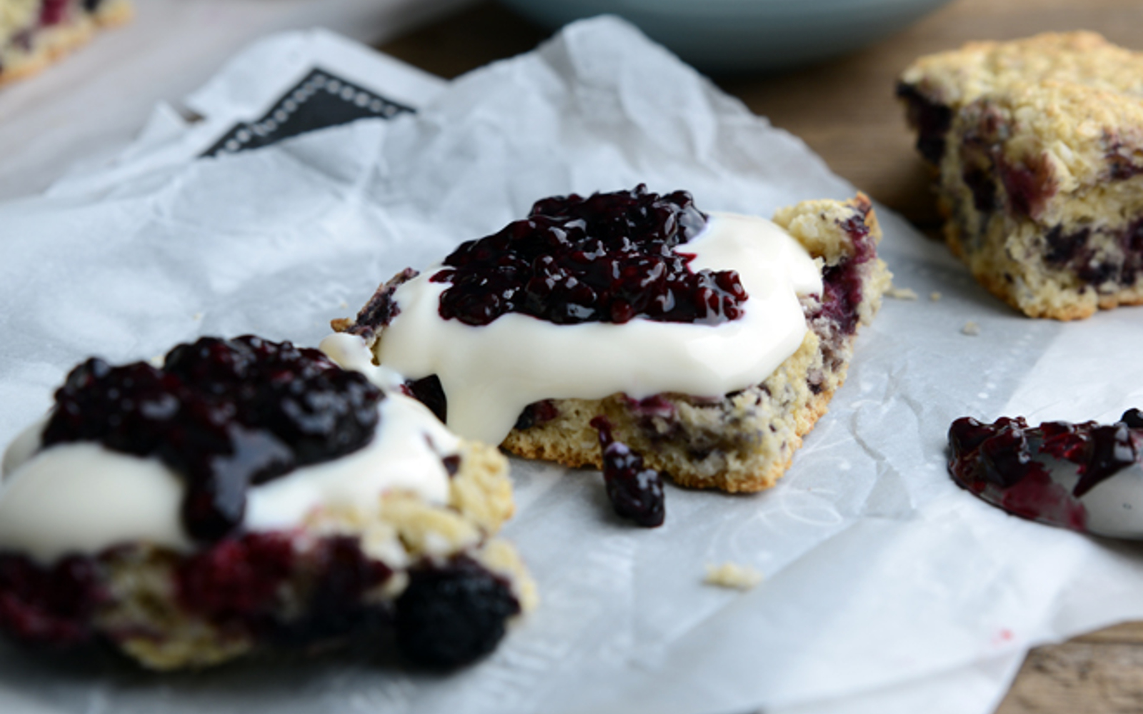 Blackberry and Coconut Scones With Berry Compote