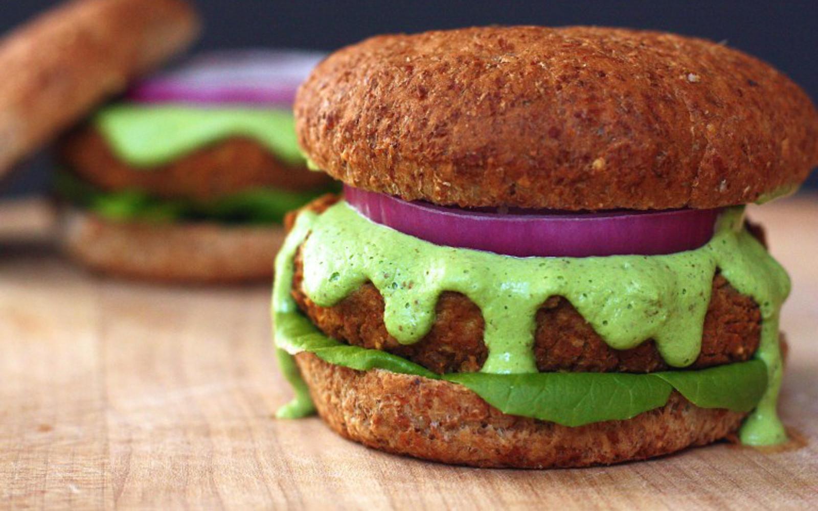 bean burger with herb aioli
