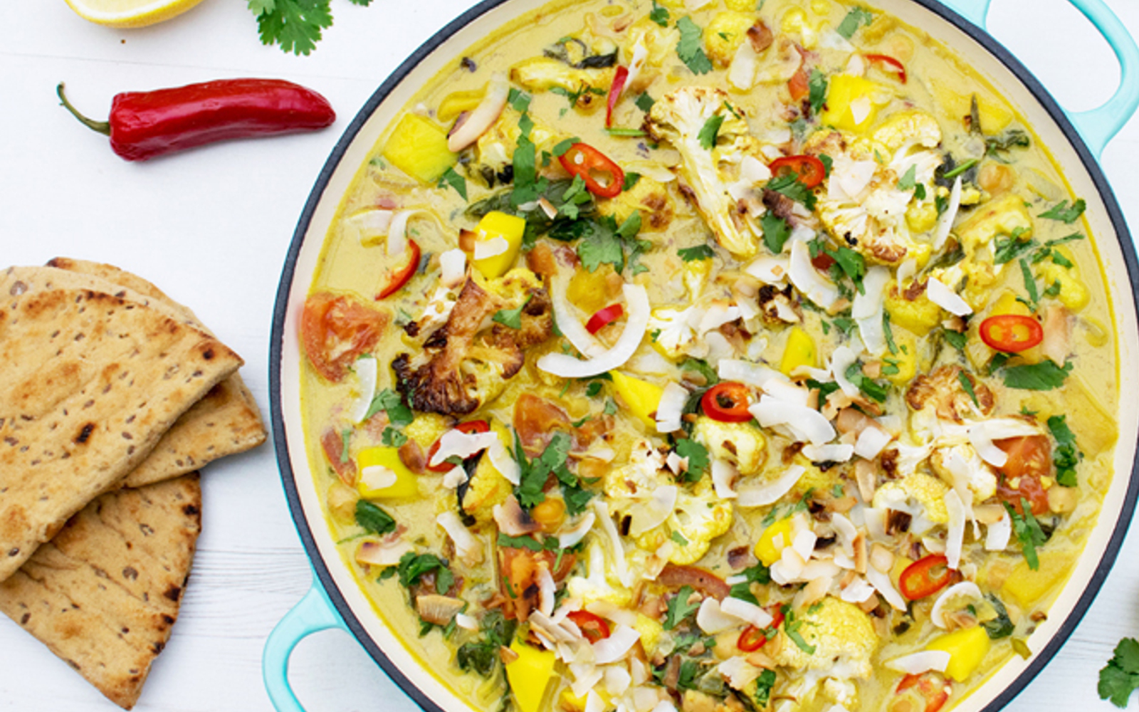 Cauliflower, Mango, and Spinach Coconut Curry 1