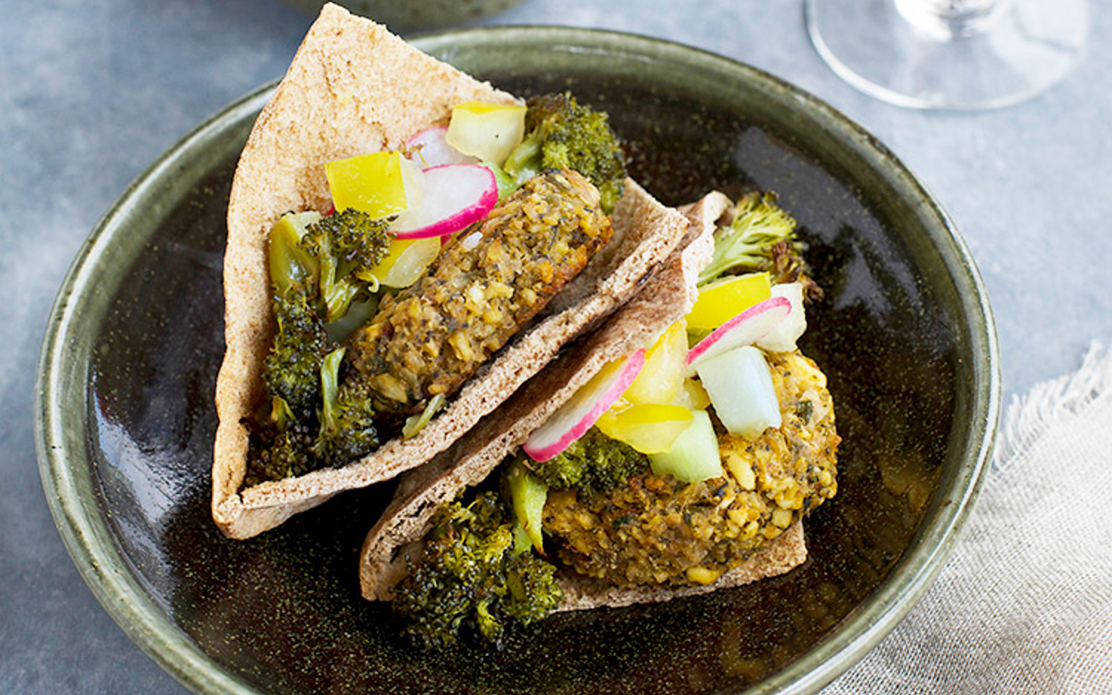 Charred Broccoli Falafel With Lemon Tahini