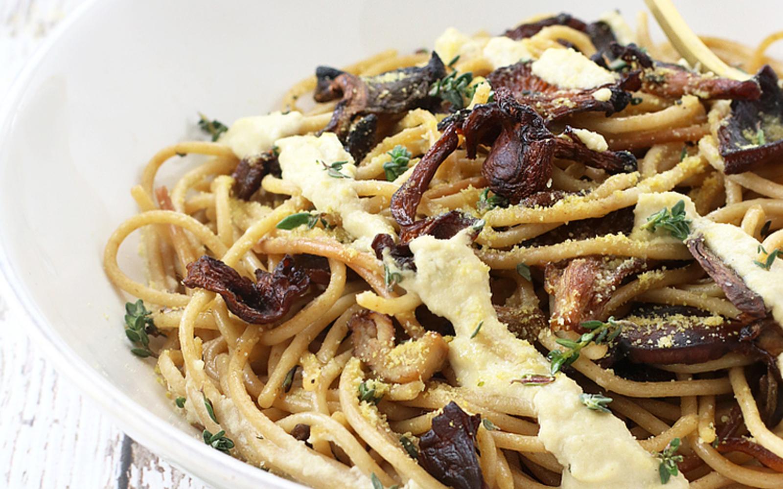 creamy spaghetti with wild mushrooms
