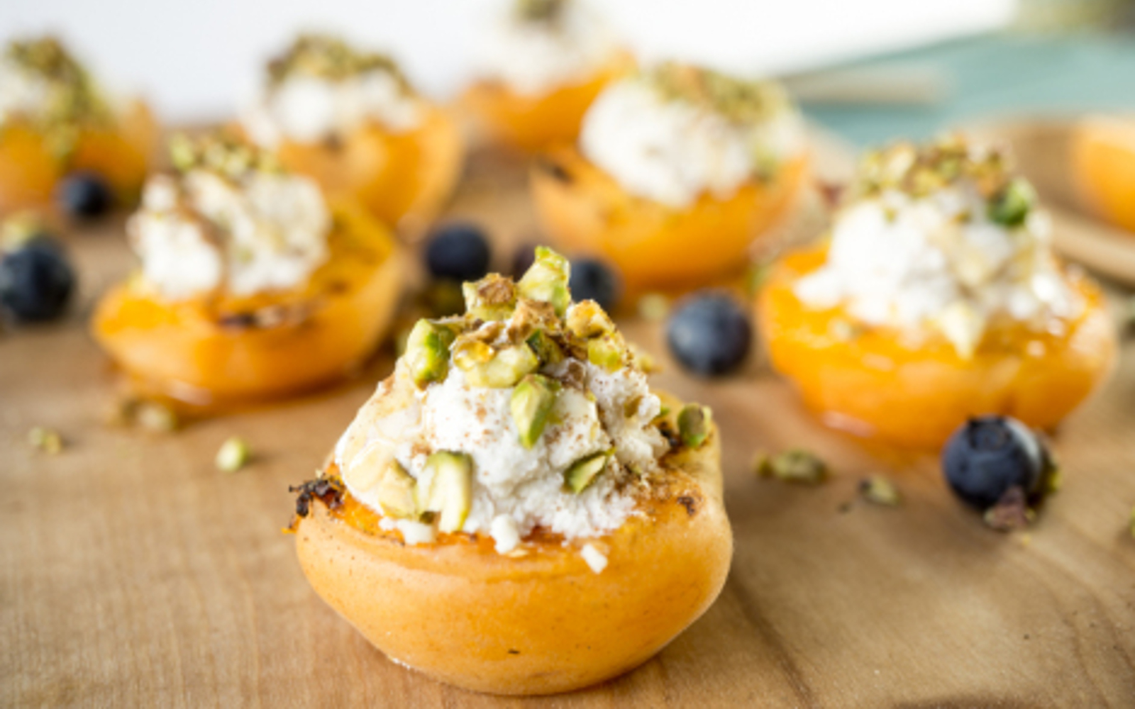 Grilled Apricots with Almond Pistachio Ricotta 3