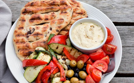 Grilled Olive and Herb Flatbread Plate