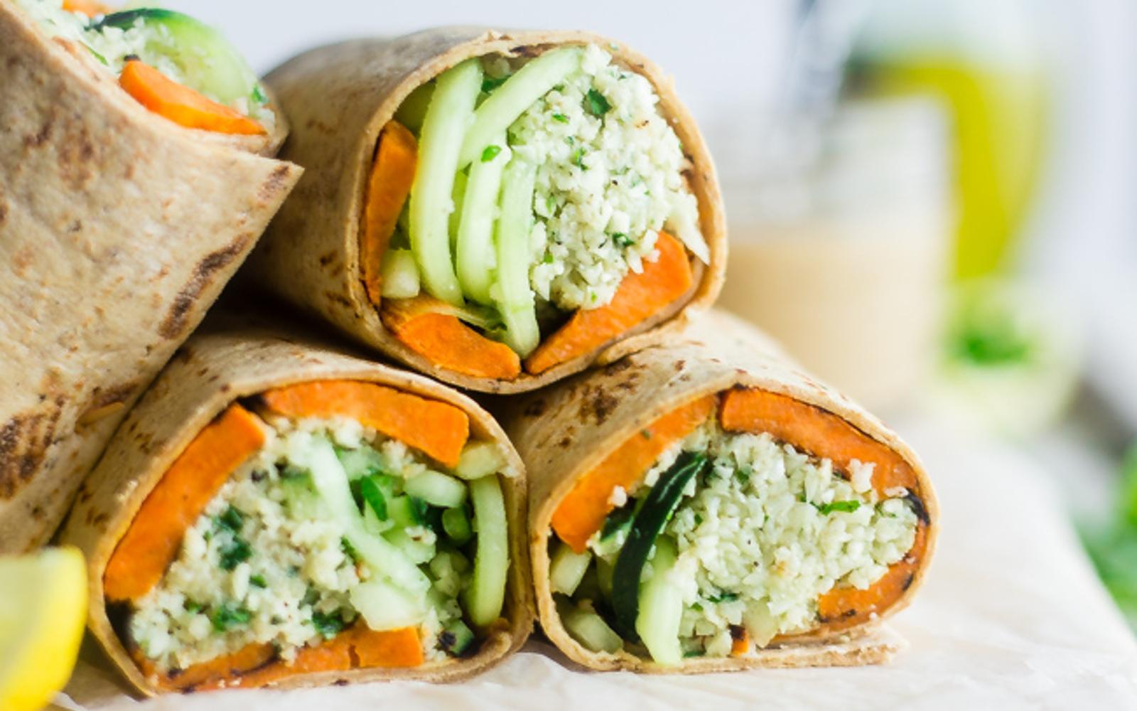 Mint Grilled Sweet Potato and Tahini Cauliflower Rice Wraps