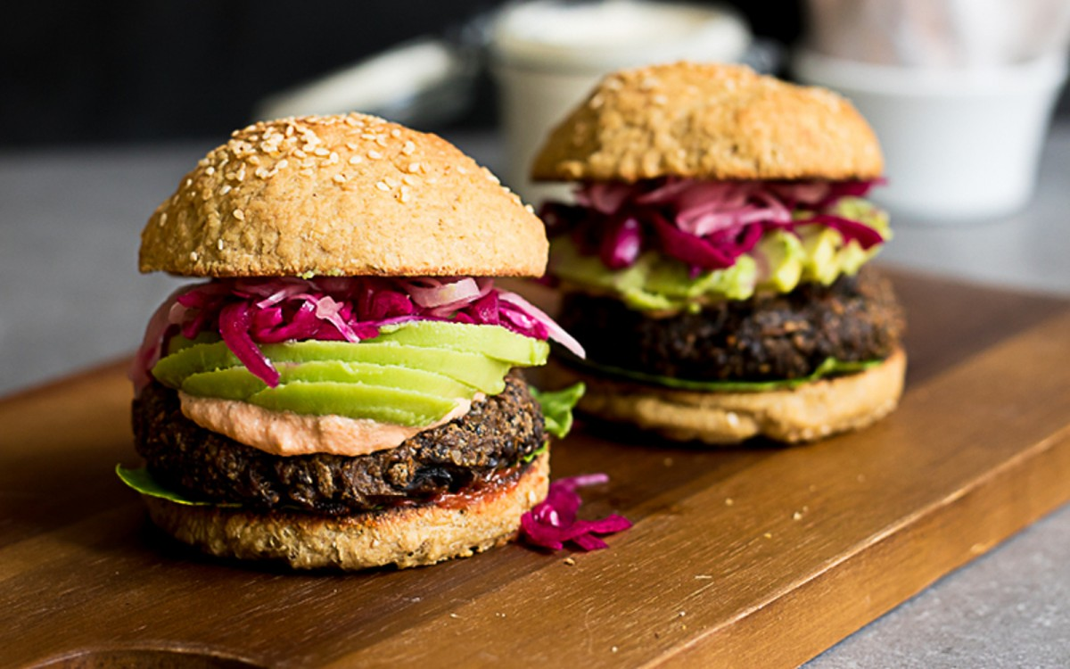 Vegan Mushroom and Lentil Burgers With Pickled Red Onion