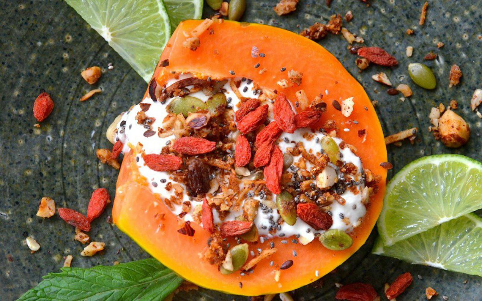 papaya coconut yogurt breakfast
