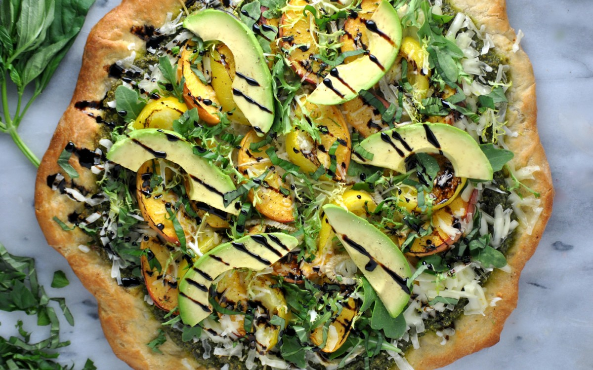 Peach And Pesto Pizza With Balsamic Glaze Vegan One Green Planet