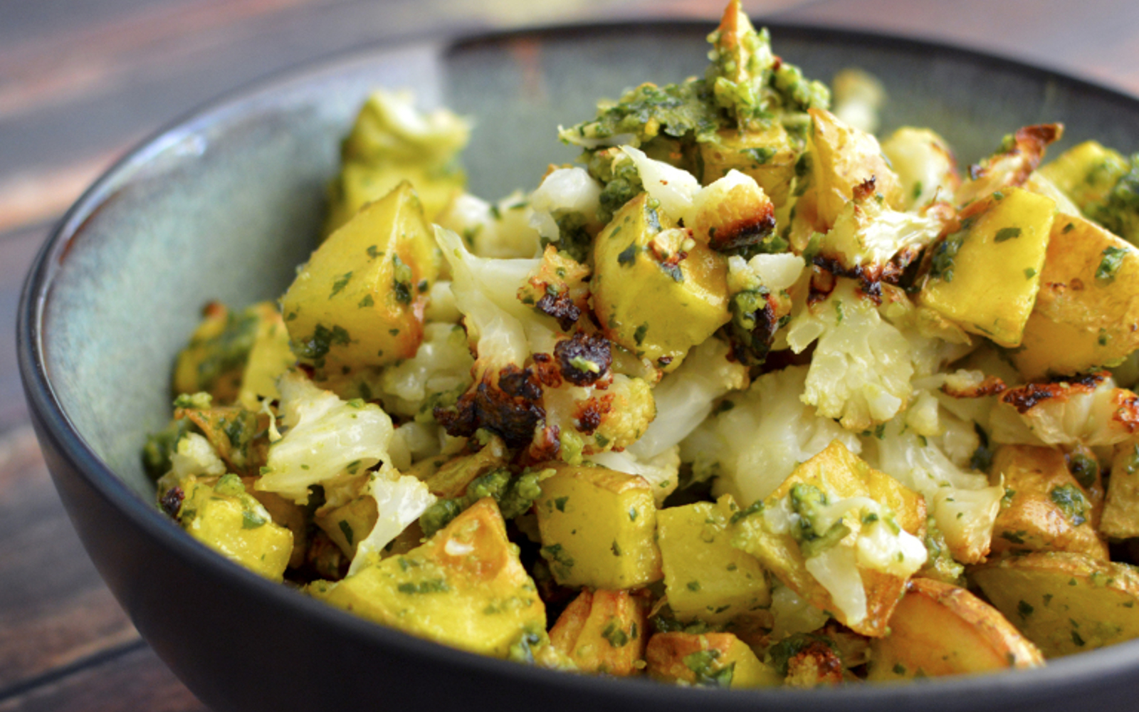 Pesto Roasted Cauliflower and Potatoes