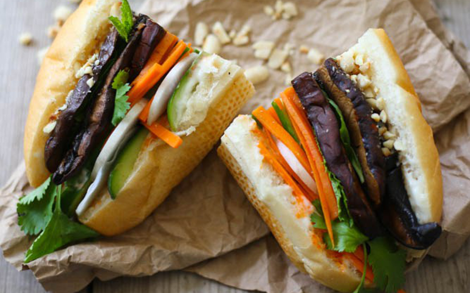 Portobello and Peanut Banh Mi
