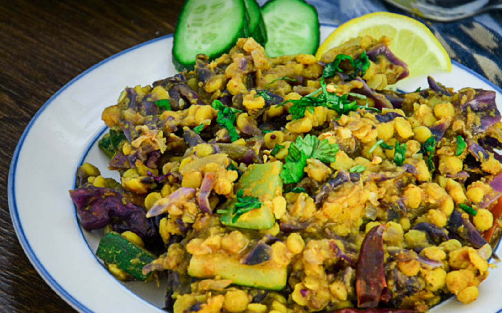 Red Cabbage And Zucchini Chana Dal Vegan One Green Planet