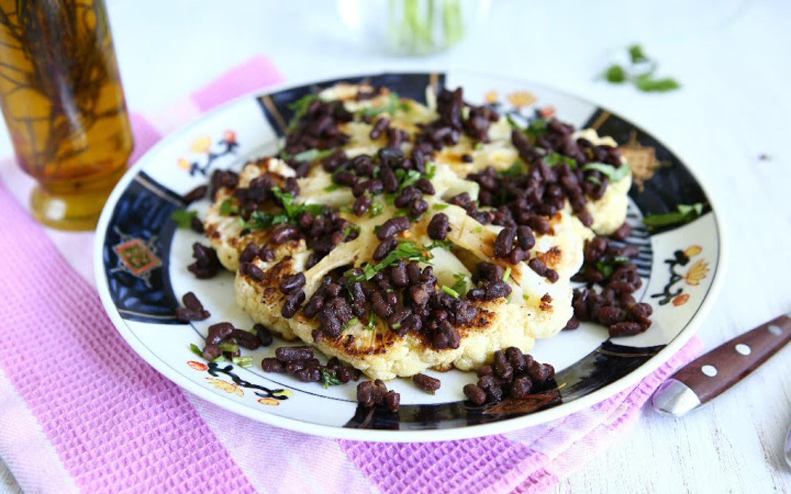 Roasted Cauliflower Steaks With Adzuki Beans 4