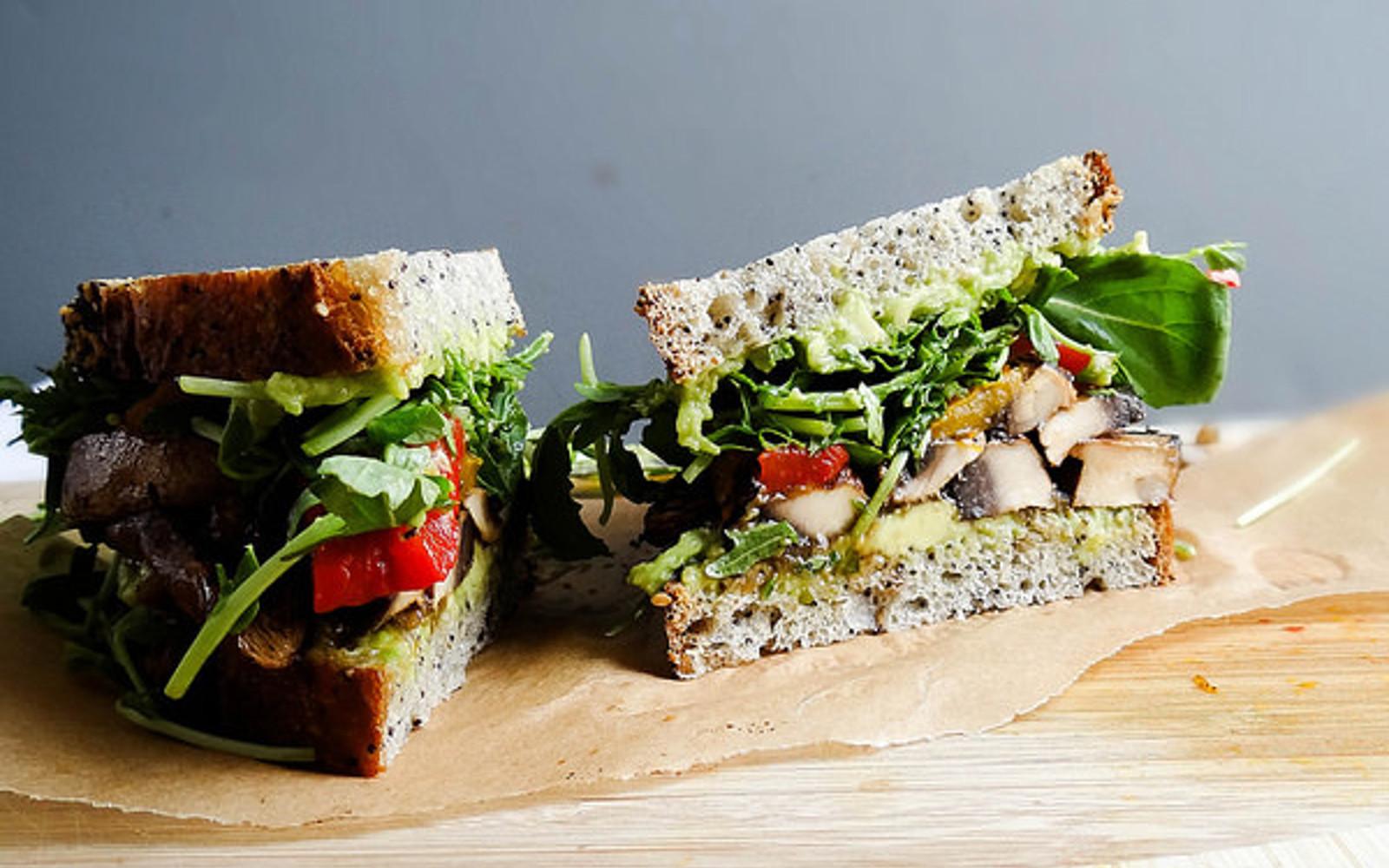 Smoky Portobello Bacon and Avocado Sandwich