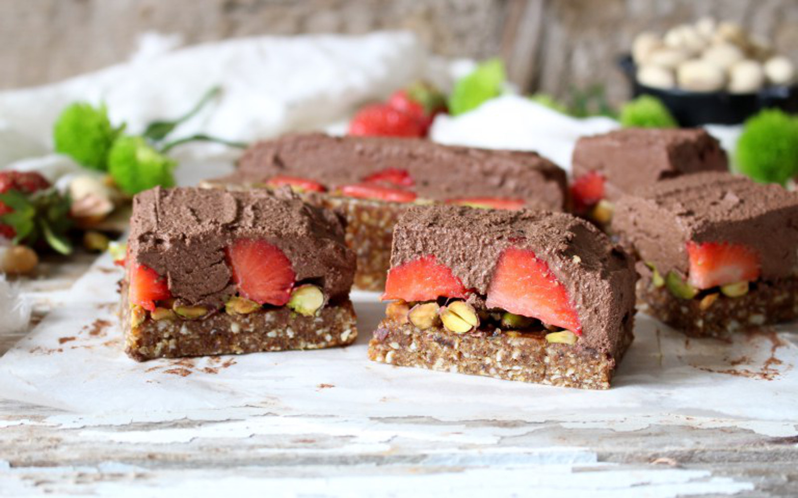 Strawberry Pistachio Chocolate Mousse Bars 2