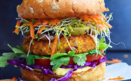 Sweet Potato, Quinoa, and Cilantro Burger
