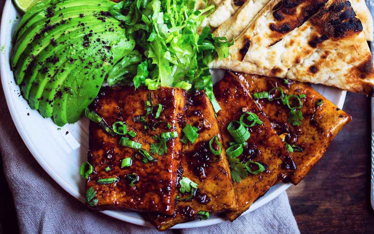 Teriyaki glazed tofu steaks