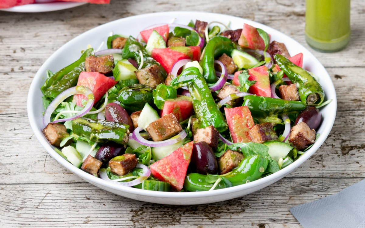 Watermelon Salad With Baked Tofu and Basil Lime Dressing
