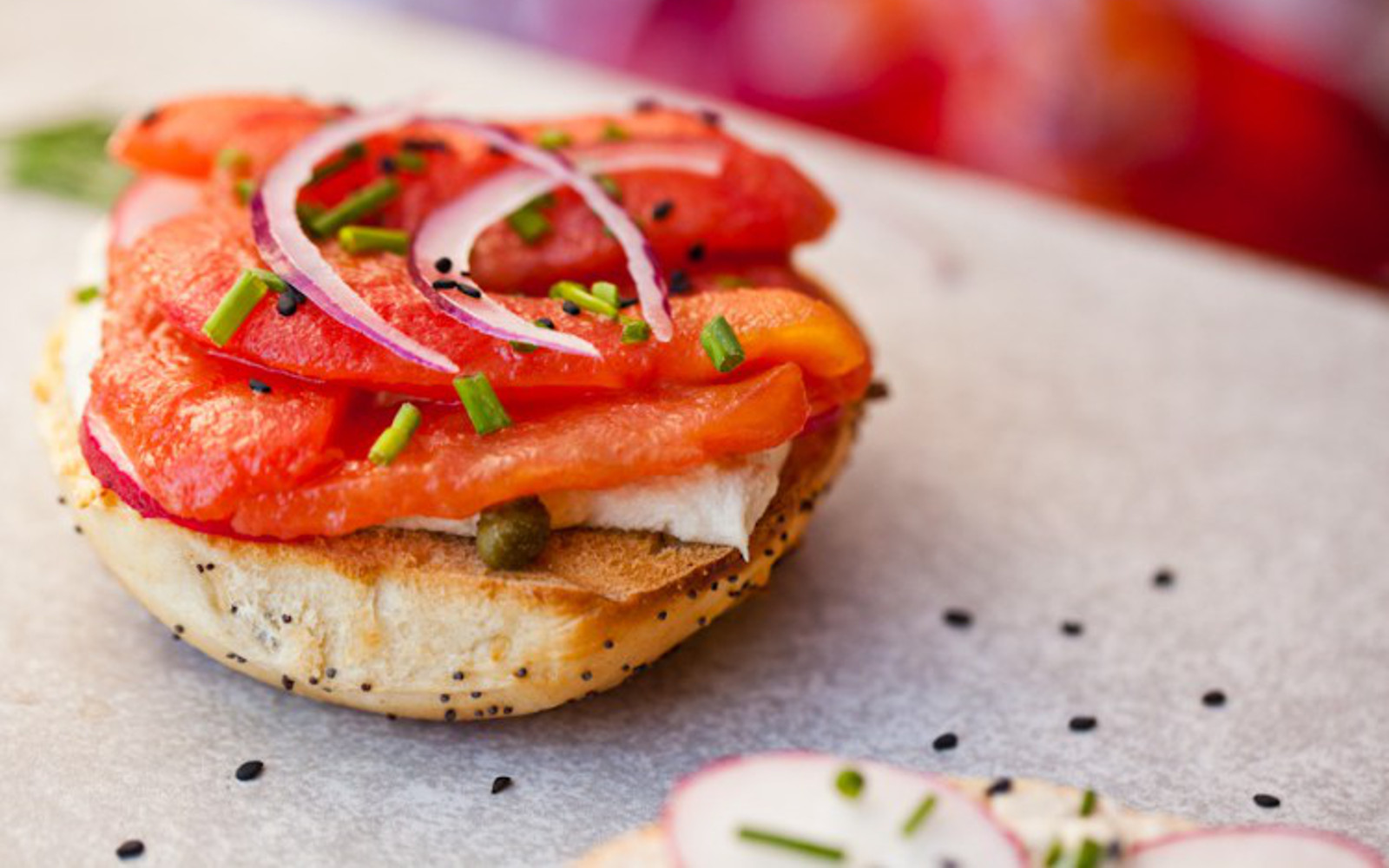 Bagels With Tomato Lox and Cashew Cream Cheese