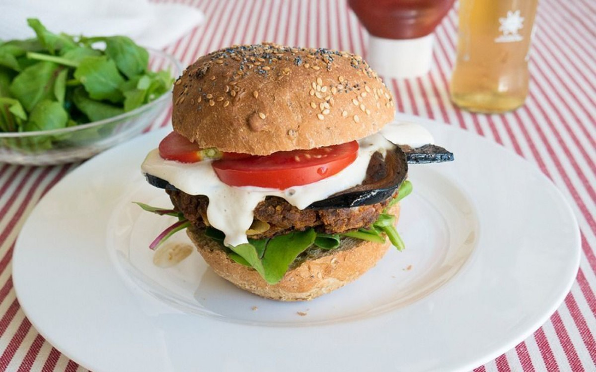 BBQ Burger With Eggplant Bacon and Cashew Cheese