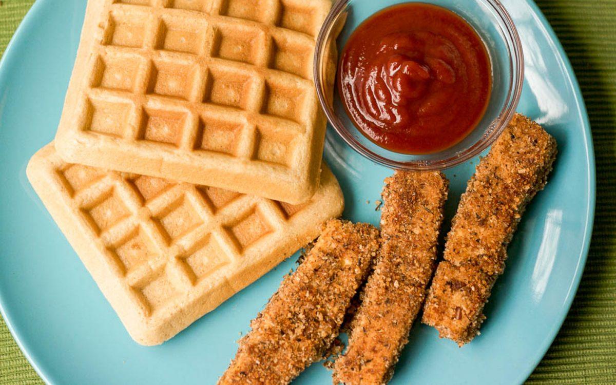 Vegan 'Chicken' Tofu Strips and Waffles