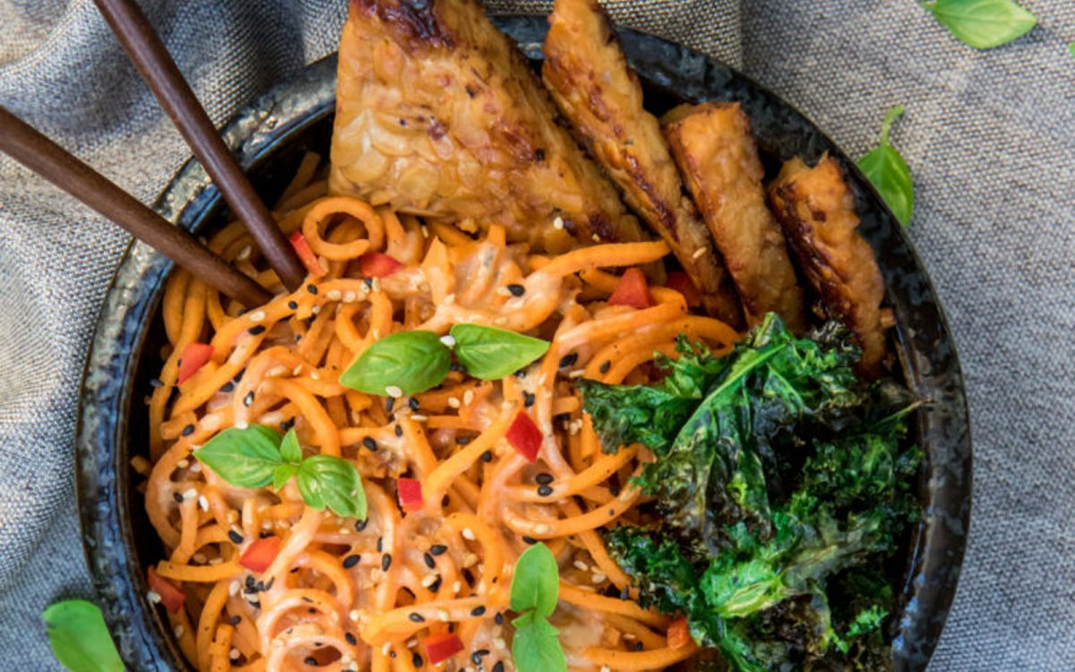 Creamy Sweet Potato Noodles With Ginger Tempeh 3