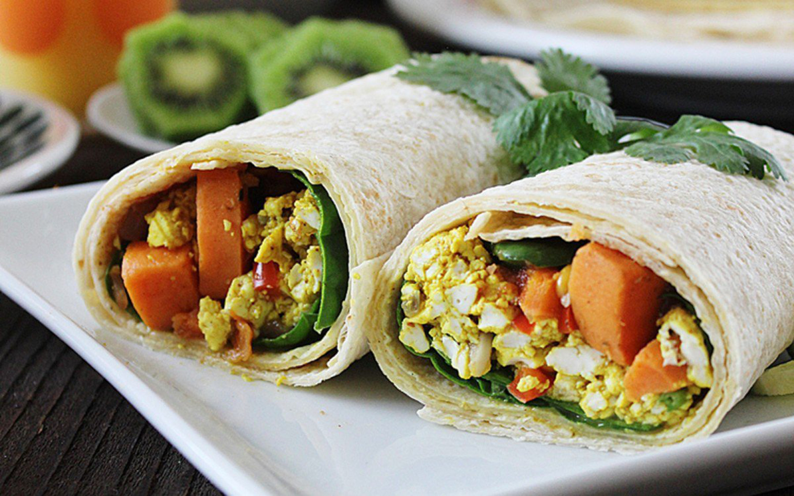 sweet potato and tofu scramble mega breakfast burrito