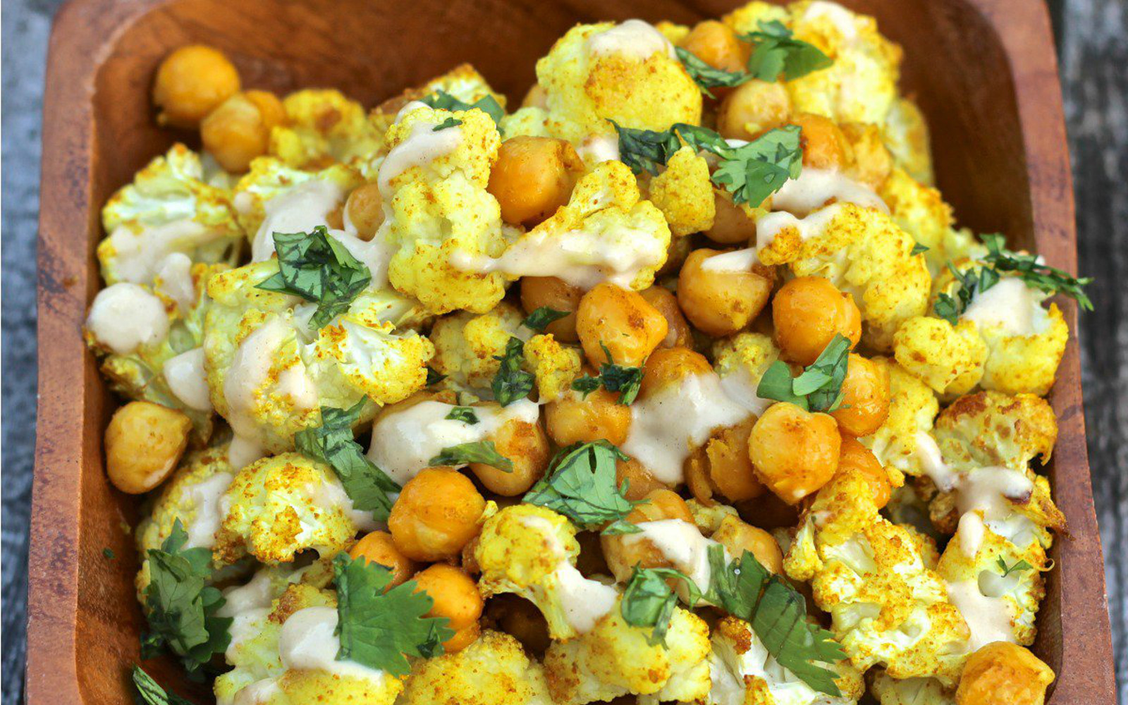 curry spice roasted cauliflwoer and chickpeas