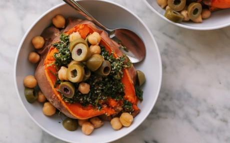 Mediterranean Stuffed Sweet Potato Boats