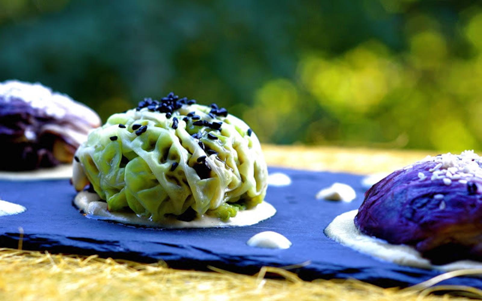 Cabbage stuffed with vegan mushrooms and radicchio with mustard sauce