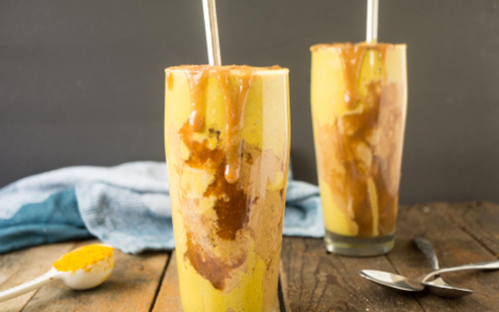 Vegan Peanut Butter Caramel Golden Milkshake