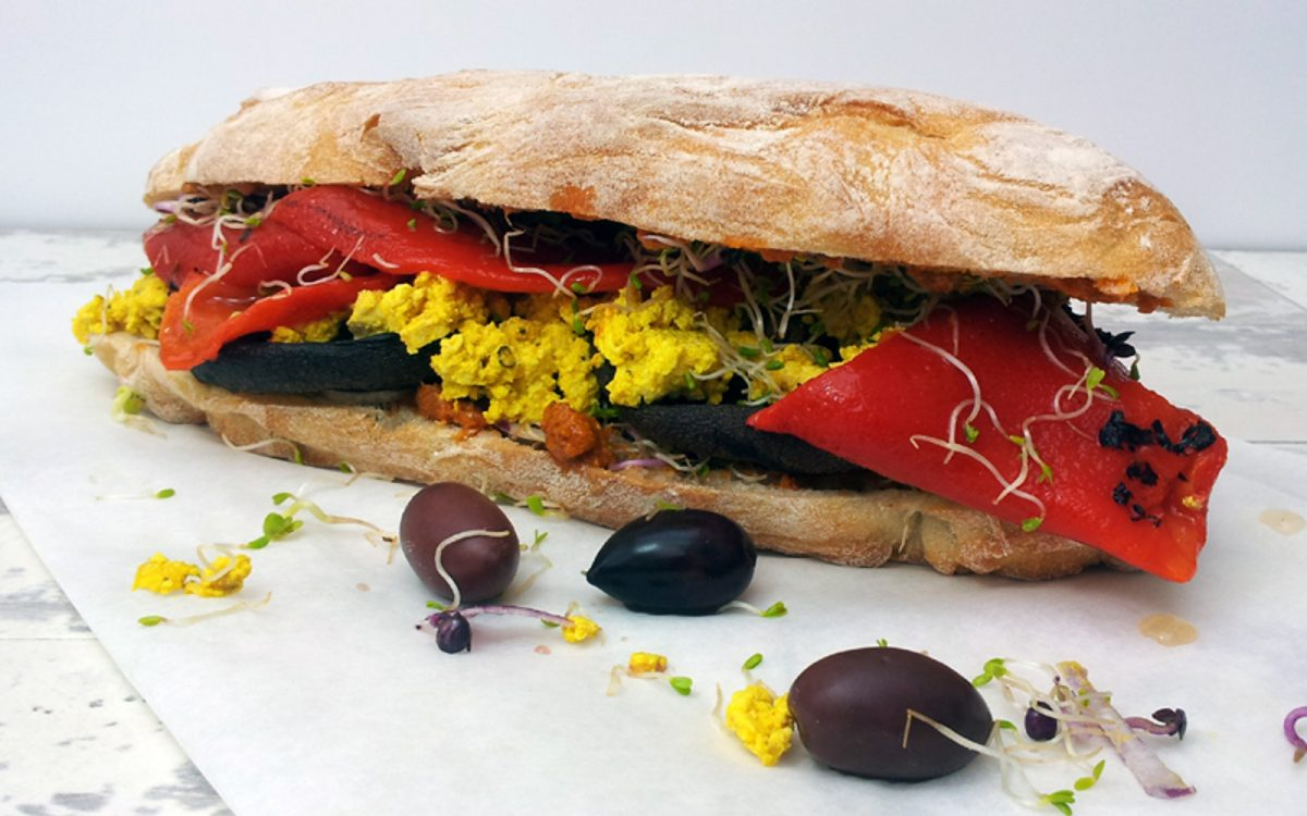 Portobello and Tofu Scramble Sandwich