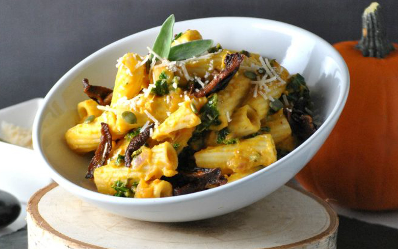 Pumpkin Sage Rigatoni With Shiitake Bacon