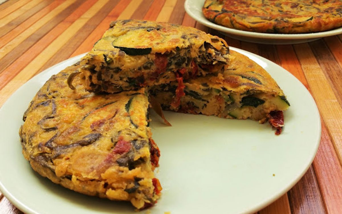 Spanish Omelet with Sun-Dried Tomatoes and Wakame