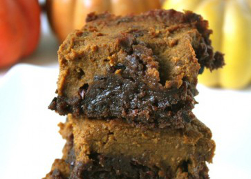 triple chocolate pumpkin swirl brownies