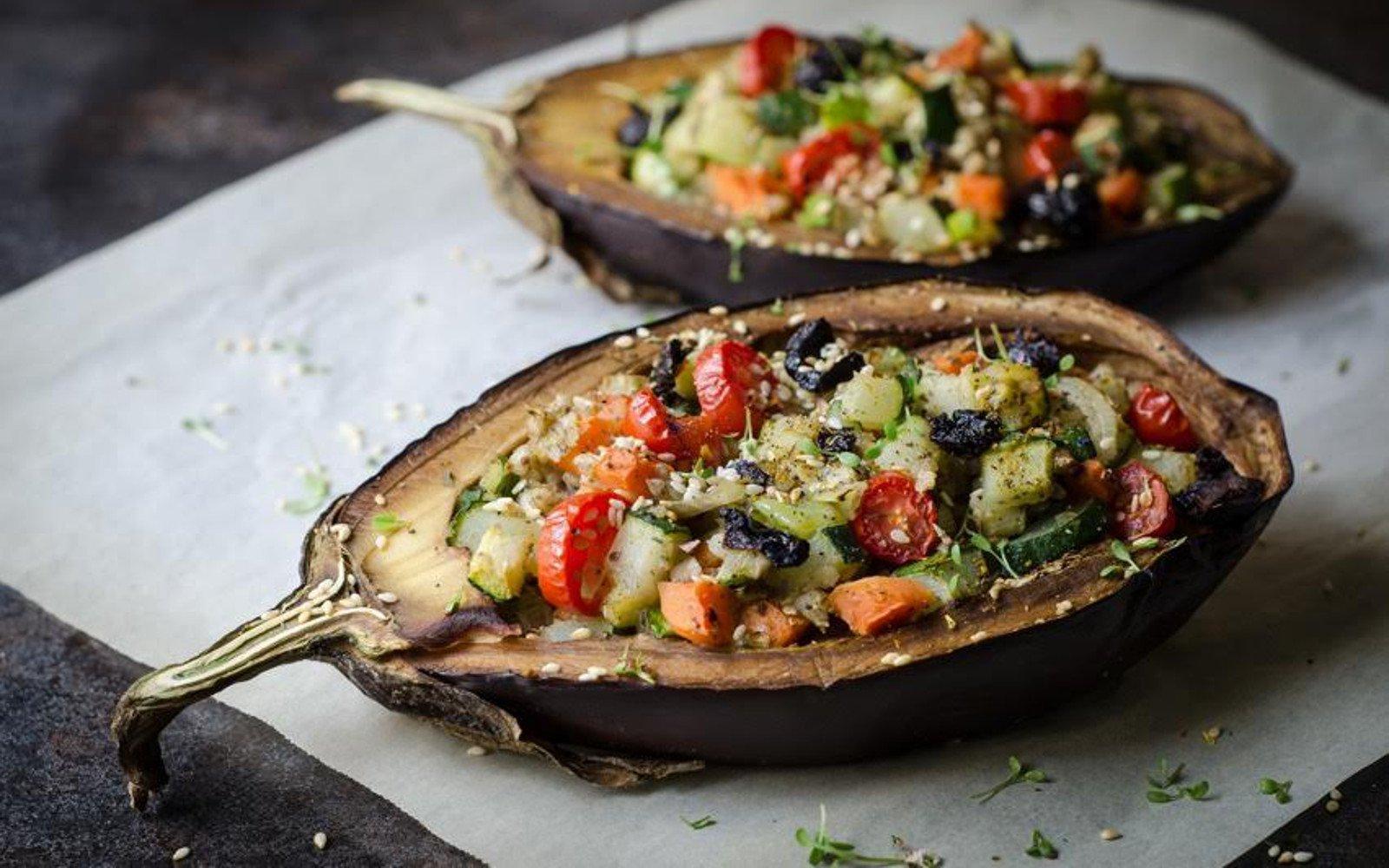 vegetable stuffed baked eggplant