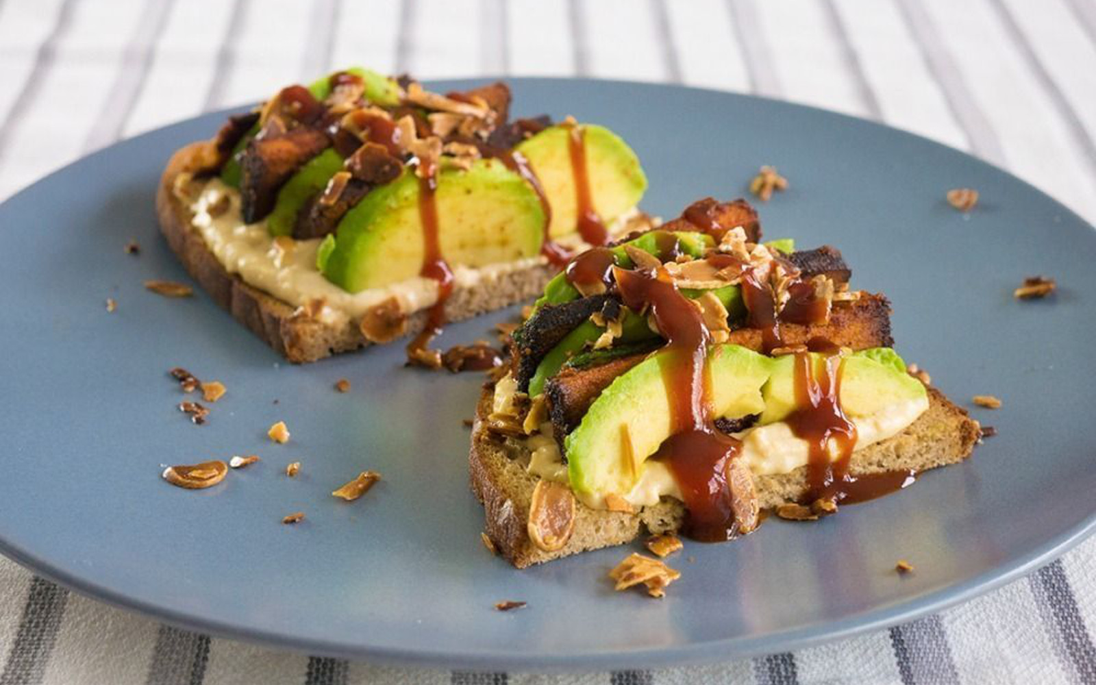 Barbecue Smoked Tofu Sandwich With Toasted Almonds 1