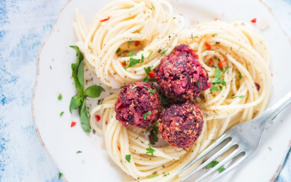 Lentil and Beet Meatballs With Pasta