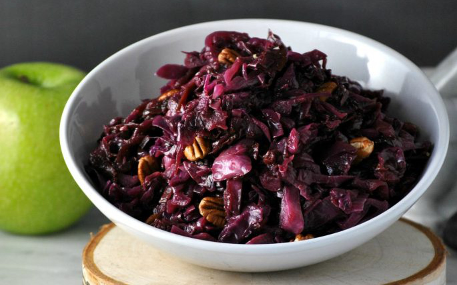 Braised Red Cabbage With Apples and Pecans