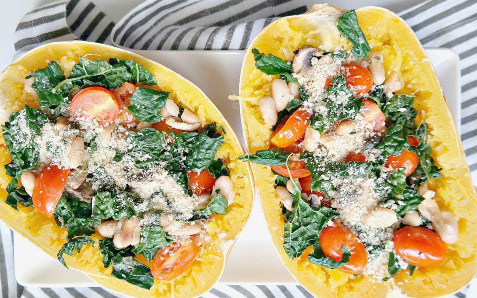 tuscan kale and mushroom stuffed spagehtti squash