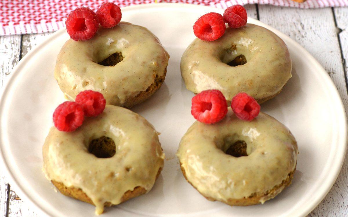 Vegan Matcha Doughnuts With White Chocolate Cardamom Icing