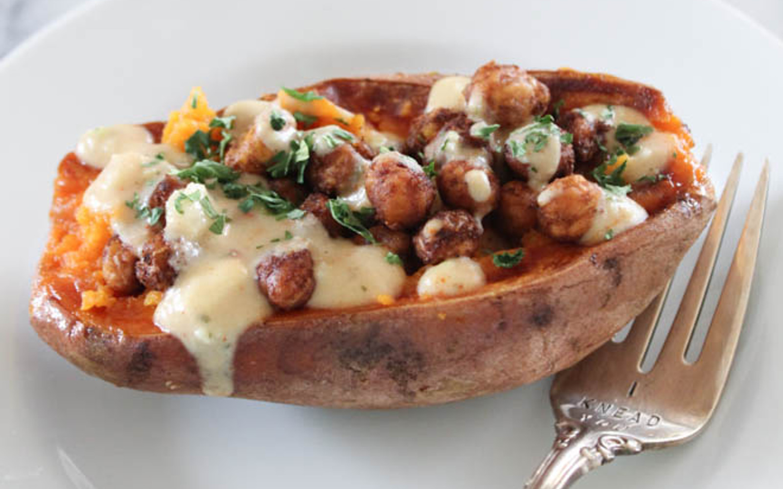 Mediterranean Chickpea Stuffed Sweet Potatoes