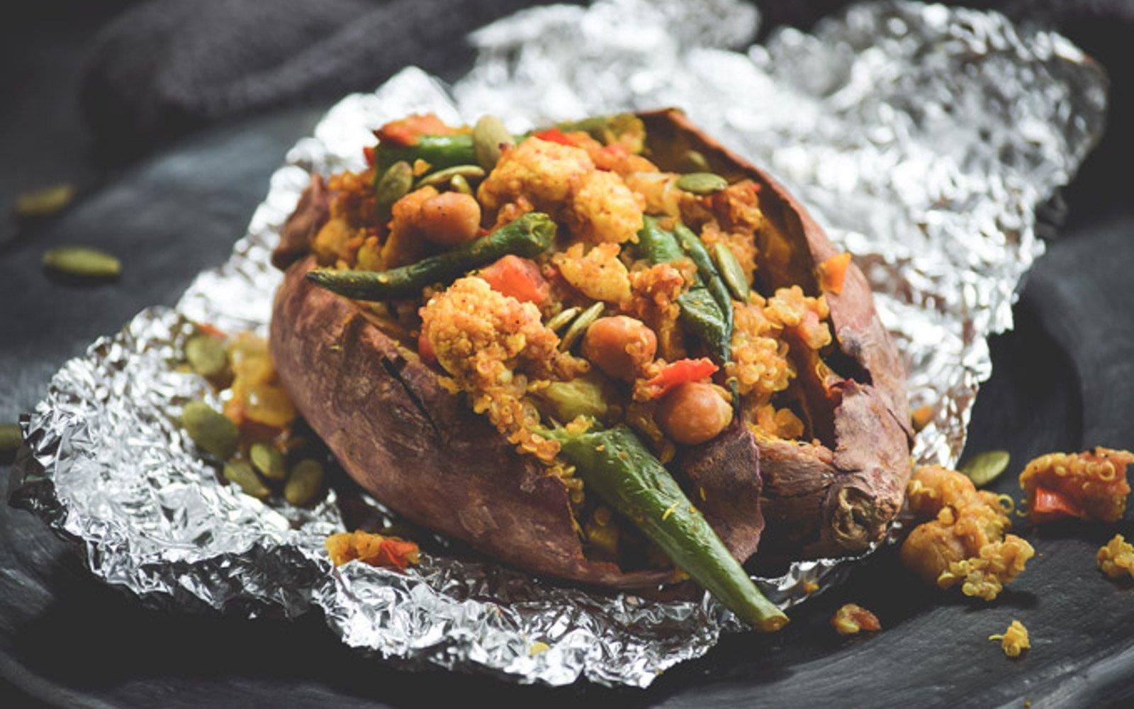 moroccan quinoa stuffed sweet potato