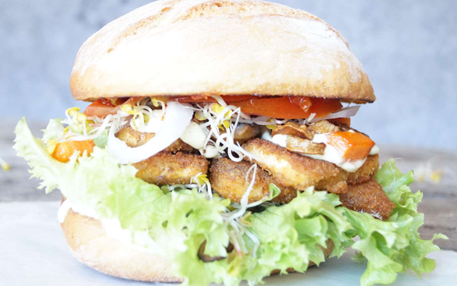 Mushroom and Tofu Cutlet Sandwich