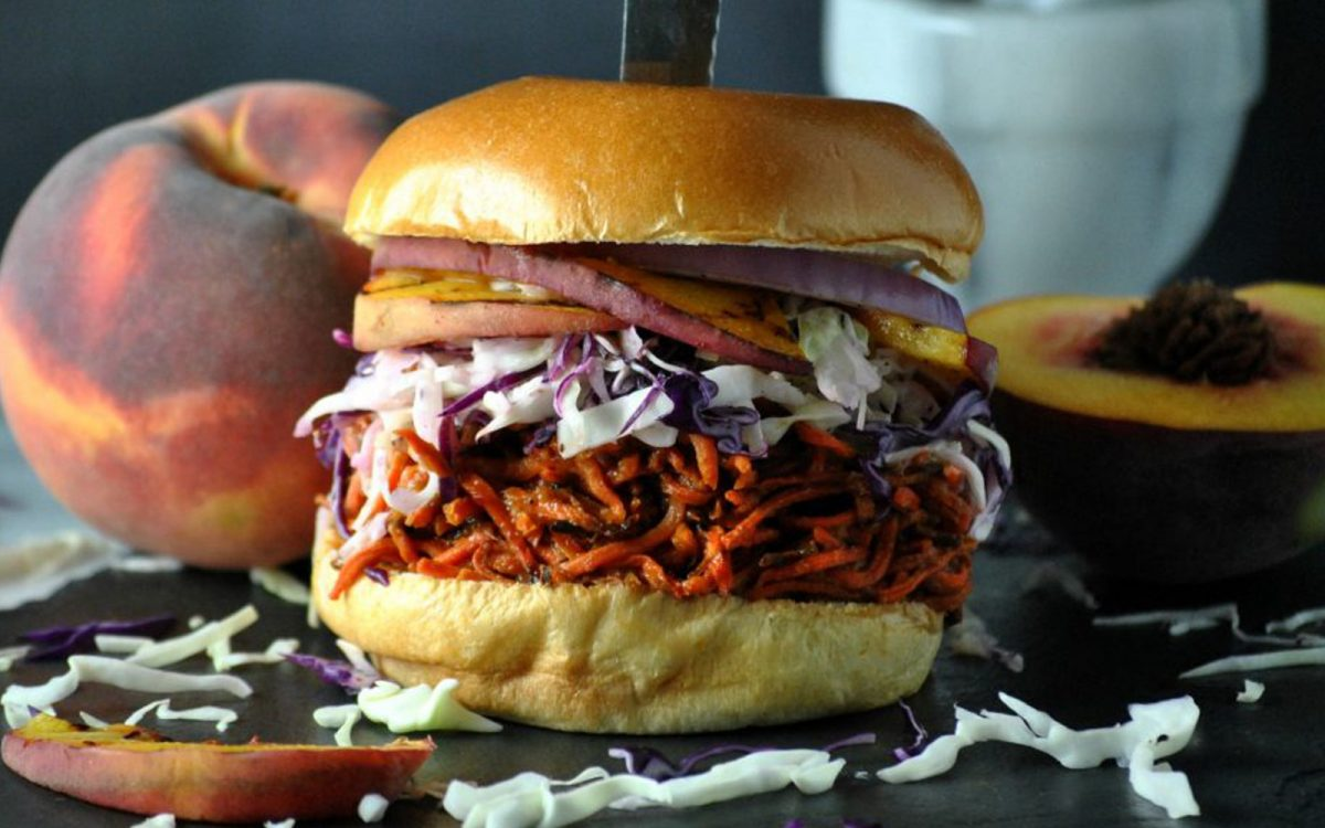 Peach Barbecue Pulled Carrot Sliders